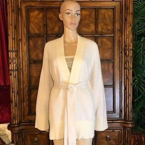 Ann Taylor Lavender Texture Stripe Belted Cardigan
